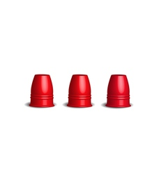 Three red stainless cups magic cup game vector