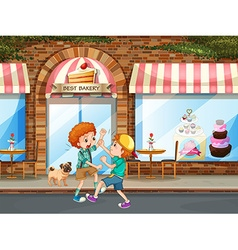 Two boys fighting in the street vector