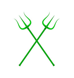 Two crossed tridents in green design vector
