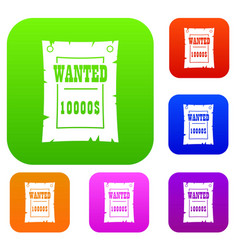 vintage wanted poster set color collection vector image