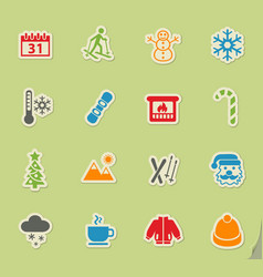 Winter icon set vector