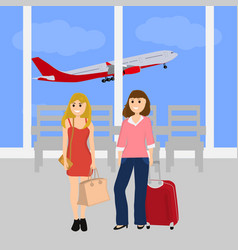 Women tourists at the international airport vector