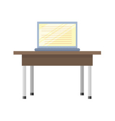 Wooden table with laptop vector