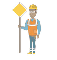 Young african road worker showing road sign vector