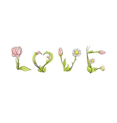 Love by delicate flowers vector