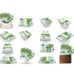 Full set of hundred euros banknotes vector