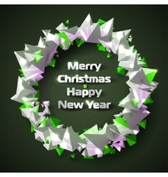 Beautiful christmas wreath of stylized triangular vector
