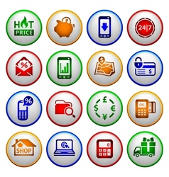 Shopping Icons Colored round buttons vector image