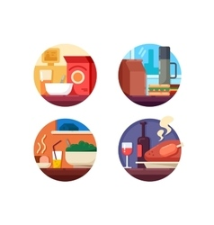 Set of food icons to dinner vector