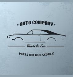 vintage muscle car company logo design vector image