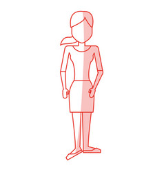 Red silhouette shading caricature faceless woman vector