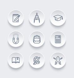 School line icons set education college vector
