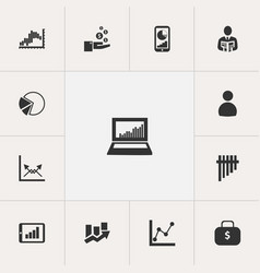Set of 13 editable analytics icons includes vector