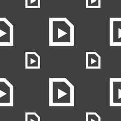 Play icon sign seamless pattern on a gray vector