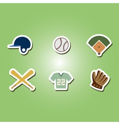 Color set with baseball icons vector