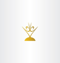 Golden chalice people logo vector