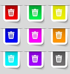 Bin icon sign set of multicolored modern labels vector