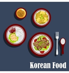 Traditional dishes of korean cuisine vector