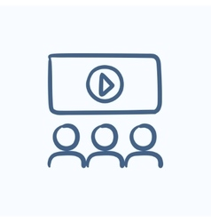 Viewers watching motion picture sketch icon vector