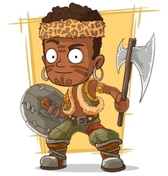 Cartoon cool zulu warrior with axe vector