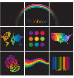a colorful diverse selection of creative rainbows vector image