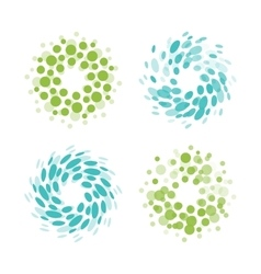Abstract circle logotype set Green and blue vector image vector image