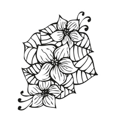 Amazing black flowers in tattoo style vector image