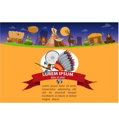 American indian game background 19th century in vector