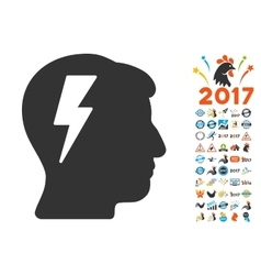 Brainstorming icon with 2017 year bonus symbols vector