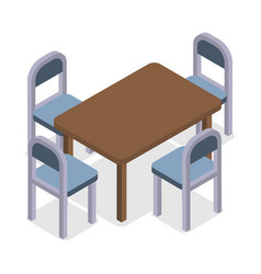 chair and table isometric design cafe furniture vector image vector image