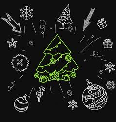 Christmas sale doodle elements vector