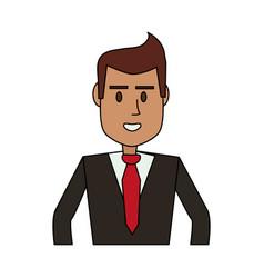 Color image cartoon half body executive man vector