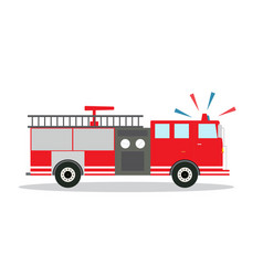 Colored fire truck with siren flat design vector