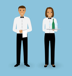 couple of male waiter and female waitress with vector image vector image