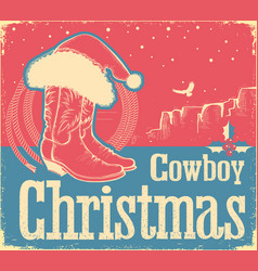 cowboy christmas card with western shoes and vector image