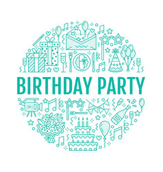 Event agency birthday party banner with vector