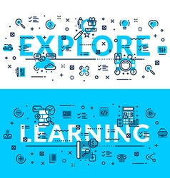 Explore and learning heading title web banner vector