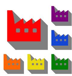 factory sign set of red orange vector image