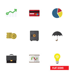 Flat icon finance set of portfolio parasol bubl vector
