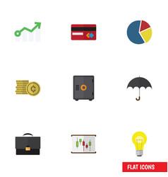 Flat icon finance set of portfolio parasol bubl vector