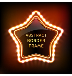 Glowing neon star frame with light bulbs vector image vector image