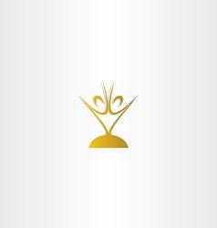 Golden chalice people logo vector
