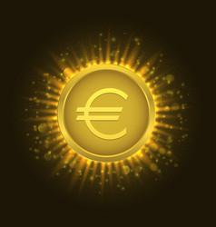 golden euro coin3 vector image vector image