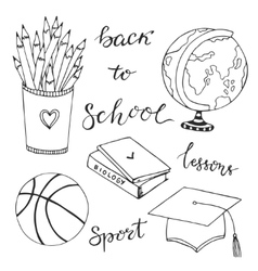 Hand drawn collection with school stationery icons vector image