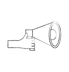 Hand holding megaphone advertising work volume vector