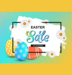 Happy easter sale banner with eggs and frame vector