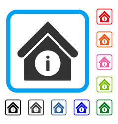 Info building framed icon vector