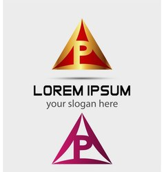 Letter p logo icon template elements vector