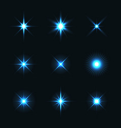 light glow flare stars effect set vector image vector image