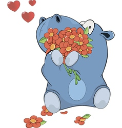 Little hippopotamus and flowers vector